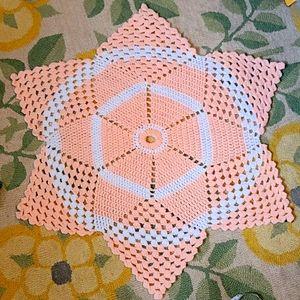 Vintage crochet handmade peach & white star flower